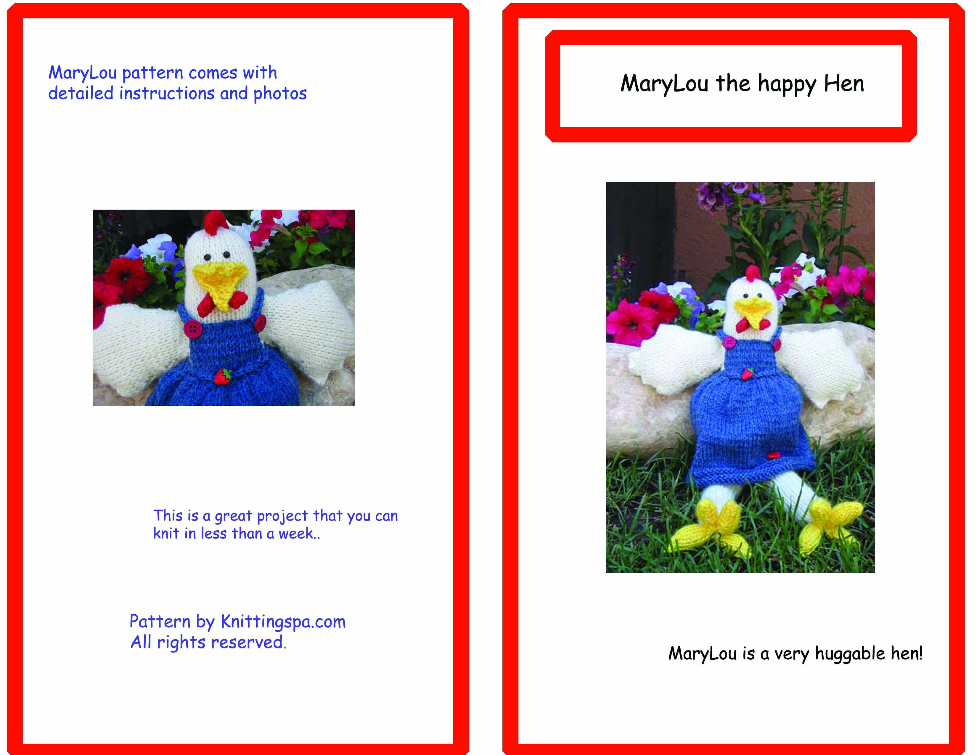 Marylou Chicken- Doll Knitted Pattern- Printed – Mondo Market TV